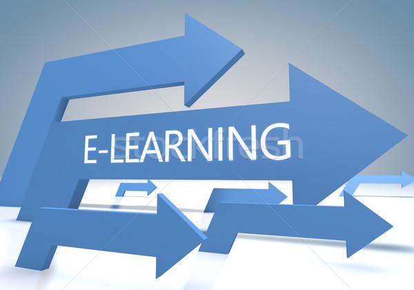 Online oktatás 3d render kék nyilak üzlet diák Stock fotó © Mazirama