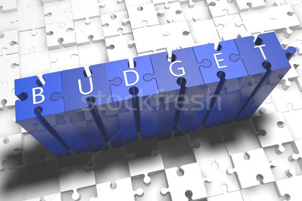 Költségvetés puzzle 3d render illusztráció levelek kék Stock fotó © Mazirama