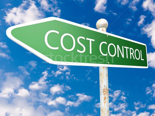 Costo control placa de la calle ilustración cielo azul nubes Foto stock © Mazirama