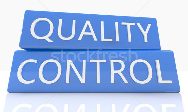 Controle de qualidade 3d render azul caixa texto branco Foto stock © Mazirama