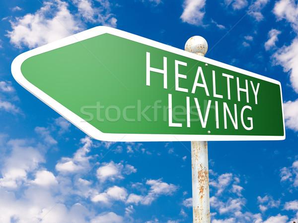 Gezond leven straat teken illustratie blauwe hemel wolken fitness Stockfoto © Mazirama