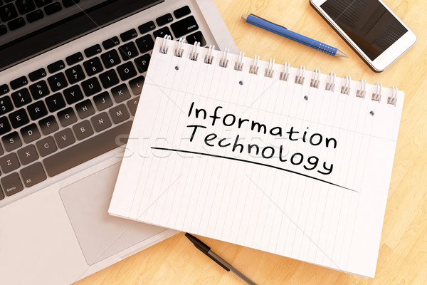 Tecnología de la información texto cuaderno escritorio 3d Foto stock © Mazirama