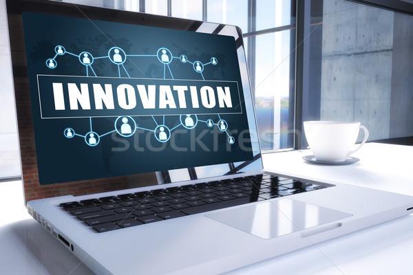 Innovation texte modernes portable écran bureau Photo stock © Mazirama