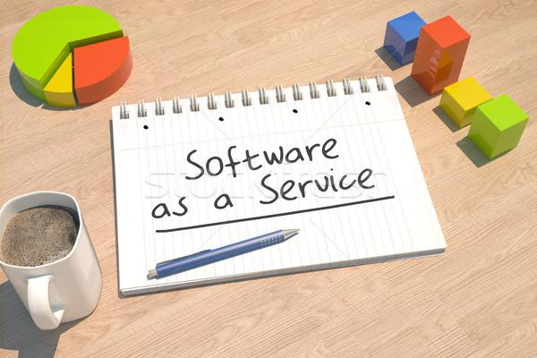 Szoftver szolgáltatás szöveg notebook kávésbögre oszlopdiagram Stock fotó © Mazirama