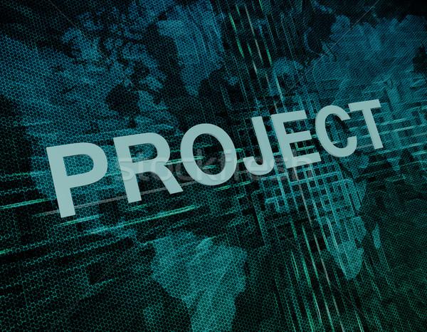 Projet texte vert numérique carte du monde travaux Photo stock © Mazirama