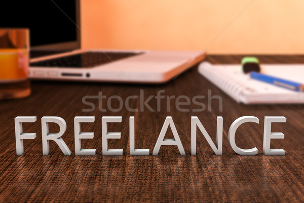 Szabadúszó levelek fából készült asztal laptop számítógép notebook Stock fotó © Mazirama