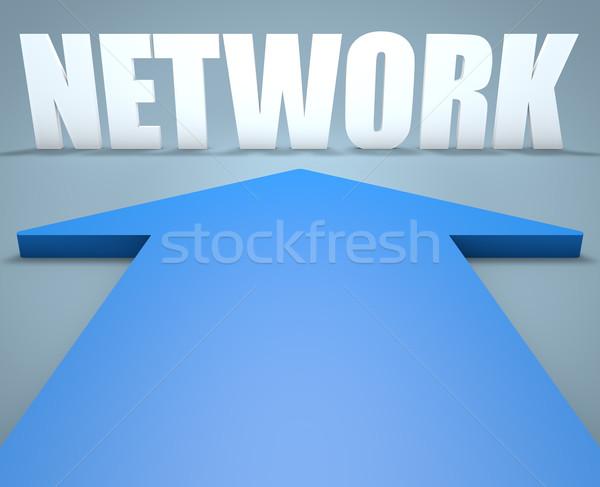 Foto stock: Rede · 3d · render · azul · seta · indicação · internet