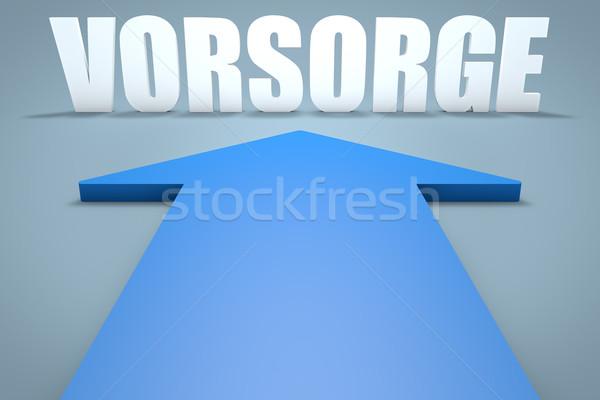 Kelime önlem önleme 3d render mavi ok Stok fotoğraf © Mazirama