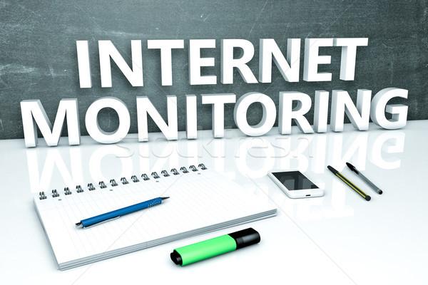 Internet ellenőrzés szöveg tábla notebook tollak Stock fotó © Mazirama