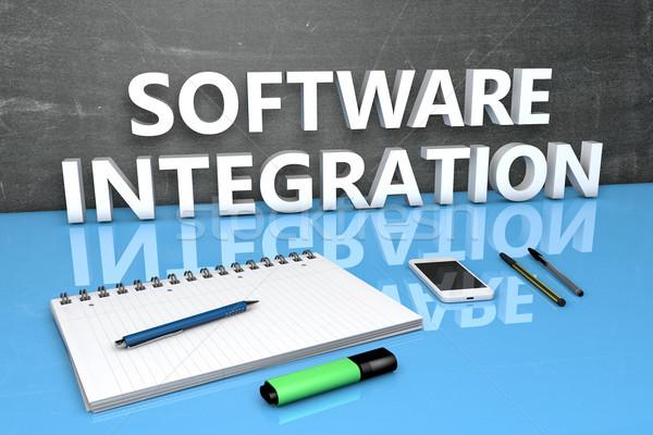Szoftver integráció szöveg tábla notebook tollak Stock fotó © Mazirama