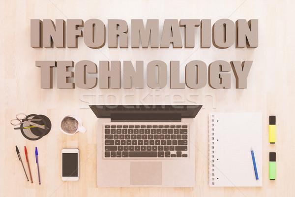 Bilgi teknolojisi metin defter bilgisayar kalemler Stok fotoğraf © Mazirama