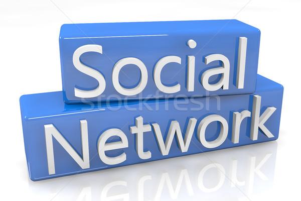 Blue Box Social Network Stock photo © Mazirama