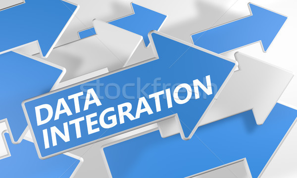 Foto stock: Datos · integración · 3d · azul · blanco · flechas