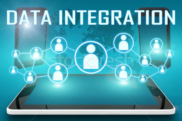 Datos integración texto ilustración social iconos Foto stock © Mazirama