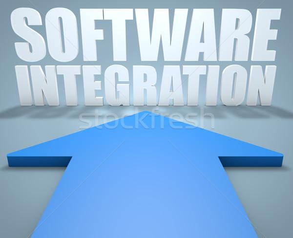 Szoftver integráció 3d render kék nyíl mutat Stock fotó © Mazirama