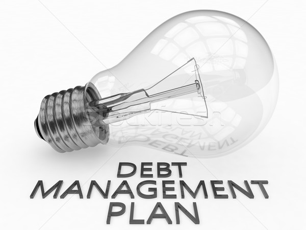 Foto stock: Dívida · gestão · plano · lâmpada · branco · texto