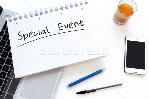 Evento speciale manoscritto testo notebook desk rendering 3d Foto d'archivio © Mazirama