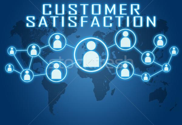 Satisfacción del cliente azul mapa del mundo social iconos comunicación Foto stock © Mazirama