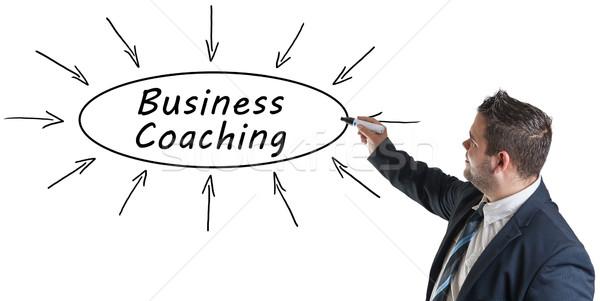 ビジネス コーチング 小さな ビジネスマン 図面 情報 ストックフォト © Mazirama