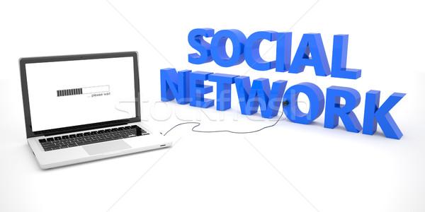 Stock fotó: Közösségi · háló · laptop · notebook · számítógép · szó · fehér