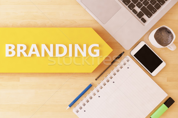 Stockfoto: Branding · lineair · tekst · pijl · notebook · smartphone