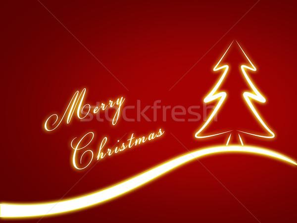 рождественская елка Рождества веселый текста снега Сток-фото © Mazirama