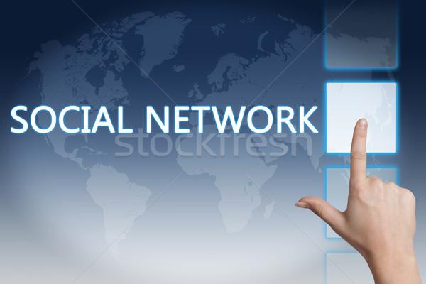 Sosyal ağ el düğme dokunmatik ekran arayüz Stok fotoğraf © Mazirama
