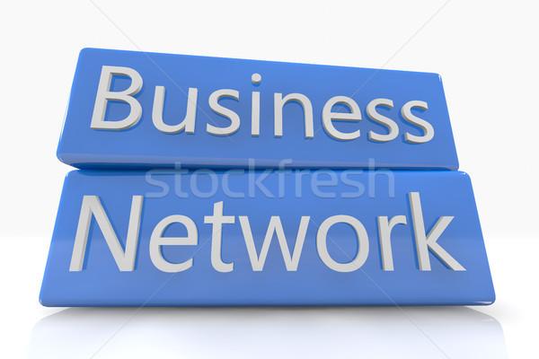 синий окна Бизнес-сеть белый компьютер сеть Сток-фото © Mazirama