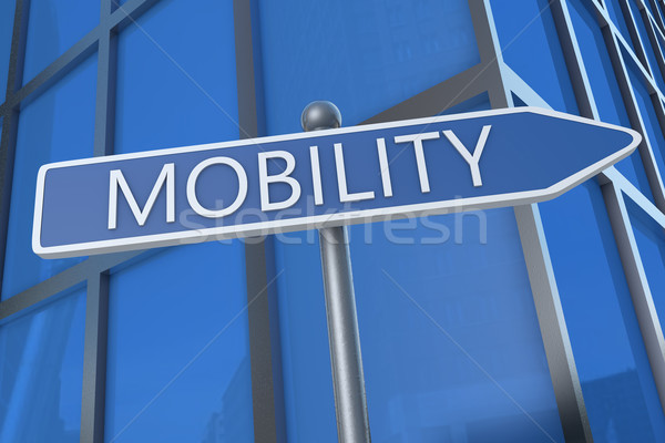 Mobiliteit illustratie straat teken kantoorgebouw telefoon veiligheid Stockfoto © Mazirama