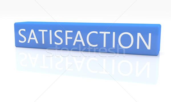 Elégedettség 3d render kék doboz szöveg fehér Stock fotó © Mazirama