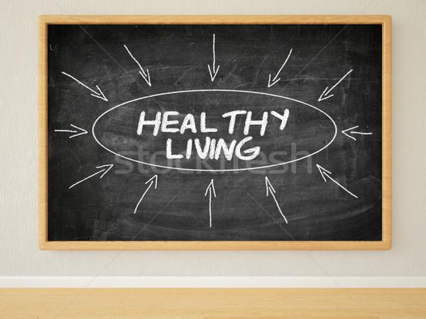 Egészséges életmód 3d render illusztráció szöveg fekete tábla Stock fotó © Mazirama