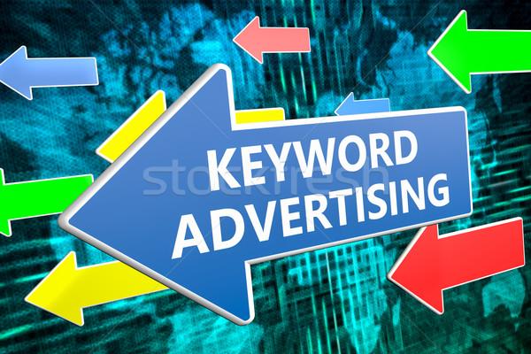 Trefwoord reclame tekst Blauw pijl vliegen Stockfoto © Mazirama