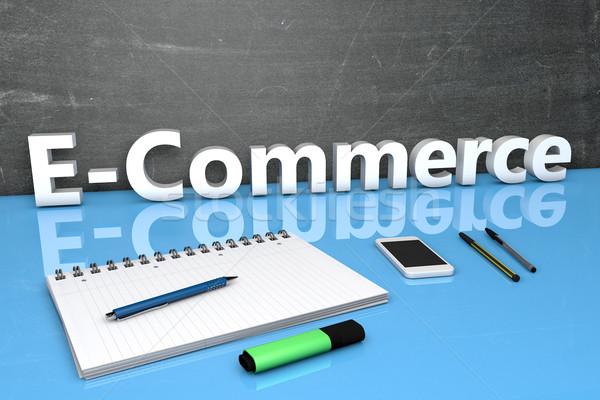 Ecommerce texte tableau portable stylos téléphone portable Photo stock © Mazirama