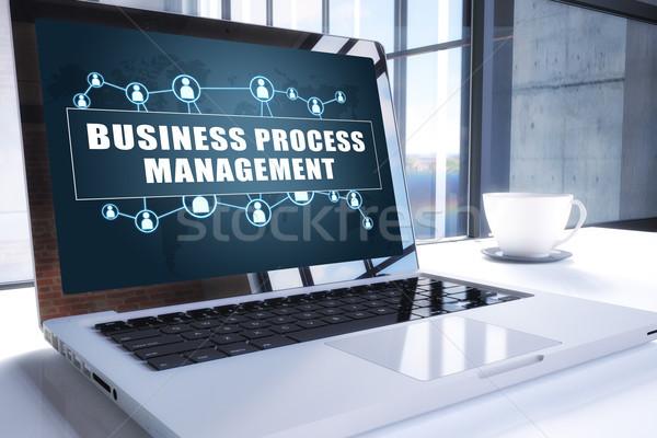 Iş süreç yönetim metin modern dizüstü bilgisayar Stok fotoğraf © Mazirama