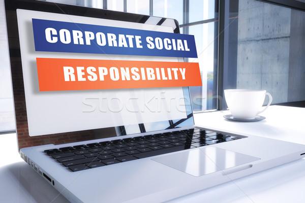 Empresarial social responsabilidad texto moderna portátil Foto stock © Mazirama
