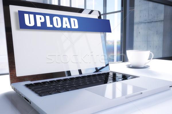Feltöltés szöveg modern laptop képernyő iroda Stock fotó © Mazirama