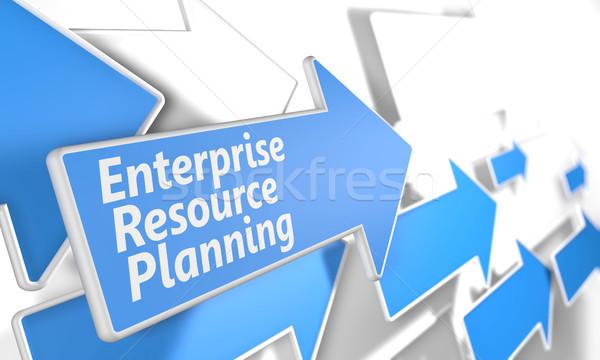 Entreprise ressource planification rendu 3d bleu blanche Photo stock © Mazirama
