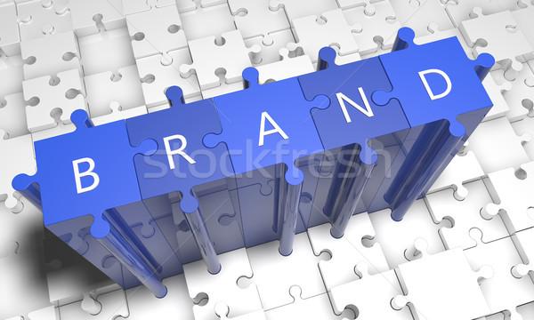 марка головоломки 3d визуализации иллюстрация текста синий Сток-фото © Mazirama