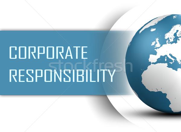 Vállalati felelősség földgömb fehér világ modern Stock fotó © Mazirama