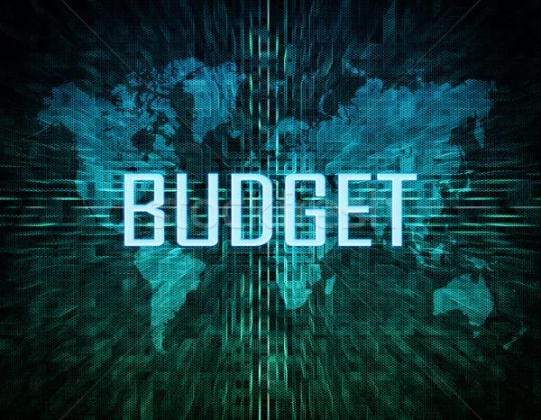Költségvetés szöveg zöld digitális világtérkép üzlet Stock fotó © Mazirama
