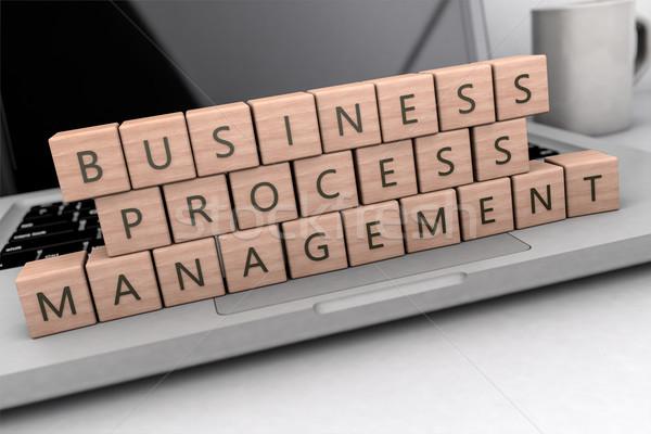 Iş süreç yönetim ahşap harfler defter Stok fotoğraf © Mazirama