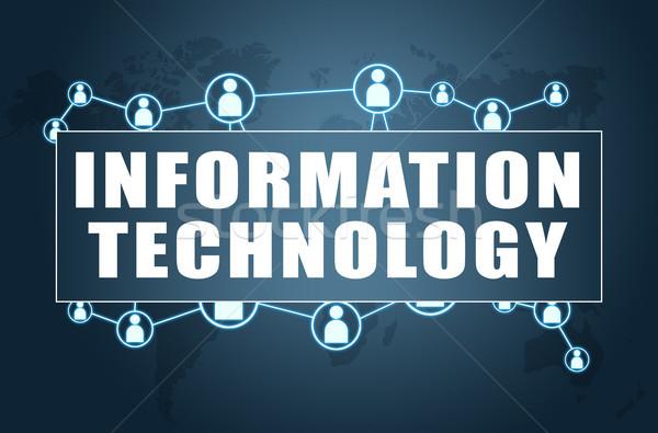 Informatika szöveg kék világtérkép társasági ikonok Stock fotó © Mazirama