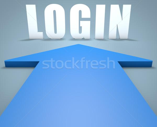 Login 3d azul flecha senalando ordenador Foto stock © Mazirama