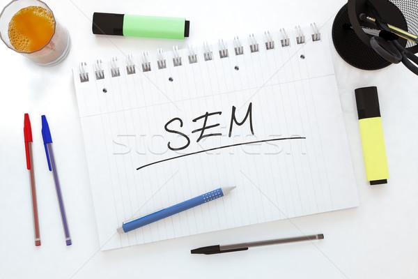 Keresőmotor marketing kézzel írott szöveg notebook asztal Stock fotó © Mazirama