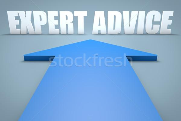 эксперт совет 3d визуализации синий стрелка указывая Сток-фото © Mazirama