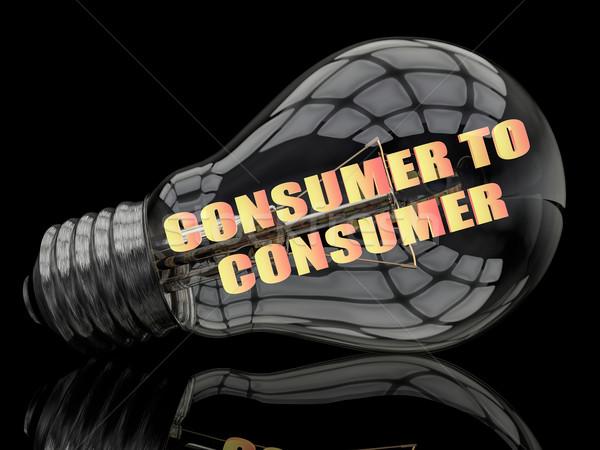 Tüketici ampul siyah metin 3d render örnek Stok fotoğraf © Mazirama