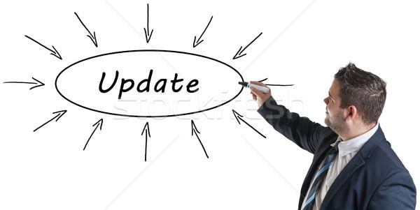 Aktualizacja młodych biznesmen rysunek informacji Zdjęcia stock © Mazirama