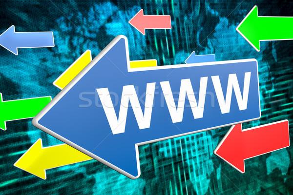 World wide web www tekst Blauw pijl vliegen Stockfoto © Mazirama
