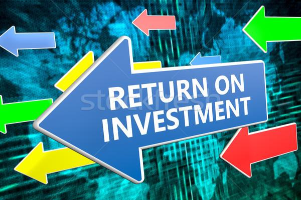 Visszatérés beruházás szöveg kék nyíl repülés Stock fotó © Mazirama