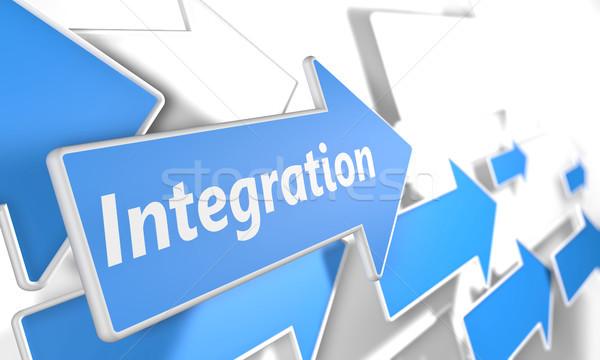 Integratie 3d render Blauw witte pijlen vliegen Stockfoto © Mazirama